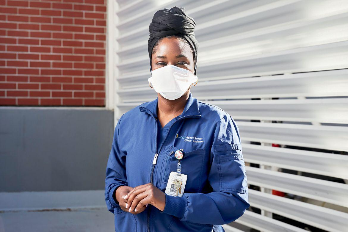 COVID Nurse in jacket with face mask